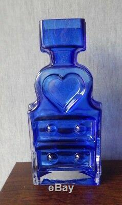 Riihimaki/Riihimaen Lasi Oy Glass Piironki Vase in Blue Helena Tynell