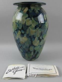 Robert Eickholt Blue Cased Crystal Art Glass Vase Signed 1998 with Paperwork