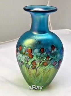 Robert Held Iridescent Blue Art Glass Vase-meadow Design- Signed And Paper Label