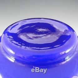 Ryd Glasbruk Swedish / Scandinavian Blue Glass Hooped 10 Vase
