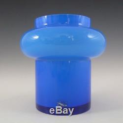 SIGNED Alsterfors/Per Strom Blue Hooped Cased Glass Vase