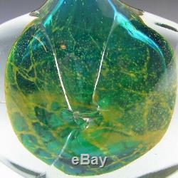 SIGNED Mdina Maltese Blue & Yellow Glass'Fish' /'Axe Head' Vase