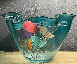 SIGNED Stephen Nelson Fused Art Glass Handkerchief Vase White Pink Aqua Blue B1