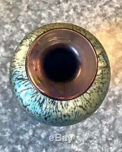 STEUBEN Blue Iridescent VASE Very Nice Condition