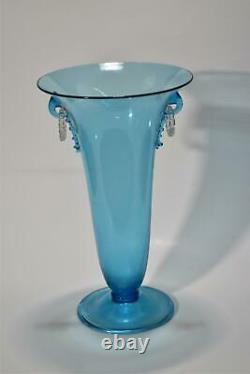 STEUBEN Celeste Blue Vase with Clear Handles 9 3/4 Tall