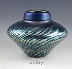 STEVEN CORREIA ART GLASS IRIDESCENT BLUE KING TUT SPHERE VASE, 6.1/2 -signed