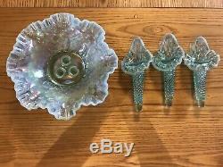STUNNING! Fenton Blue Green Aqua Opalescent Hobnail Epergne 3 Lily Horn Vase