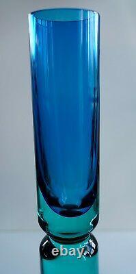 STUNNING Monumental Teardrop MURANO Casted Glass ITALY Vase Sculpture Aqua Blue