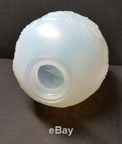 Sabino Paris Opalescent Art Glass Floral & Foliate Vase Rare Meiping Form 5.5