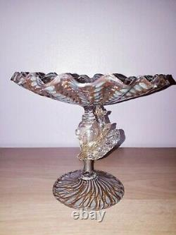 Salviati Barovier Toso Blue Gold Latticino Venetian Dragon Zanfirico Glass Tazza