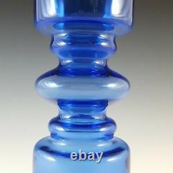 Scandinavian Style Retro Blue Cased Hooped Glass Romanian Vase