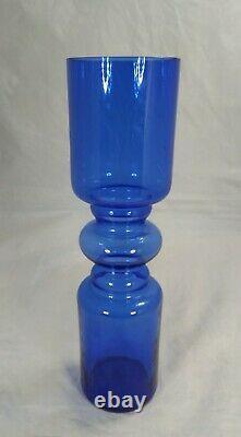 Scandinavian Style Retro Blue Hooped Glass Romanian Vase 255mm tall