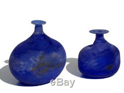 Scavo Blue Glass by Gino Cenedese Murano Design 1960s Pair of Bottles