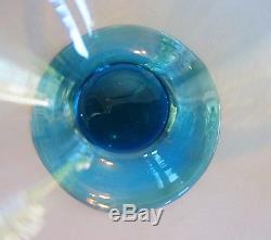 Set of 6 Steuben Blue & Amber Art Glass Sherbets c. 1925 American Antique vase