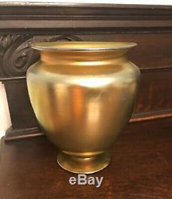 Signed Antique Steuben Gold Aurene Vase