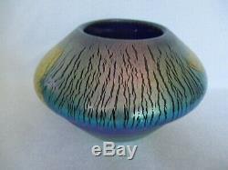 Signed Art Glass Decorative 8 Vase Bowl Artist Robert Eickholt 1988 Cobalt Blue