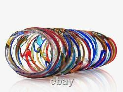 Signed HUGE 35cm Murano Italian Art Glass Outer Strapping Vase by S Constantini
