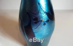 Signed JAMES Lundberg Art Glass Vase, Lundberg Studios, 1977 (#1)