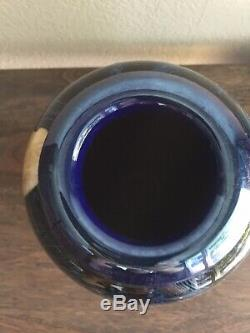 Signed Satava Blue Wisteria Moon Blown Art Glass Vase
