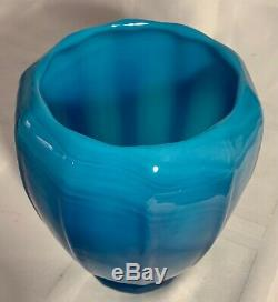 Signed Steuben And F. Carder Turquoise Jade Vase. Mint