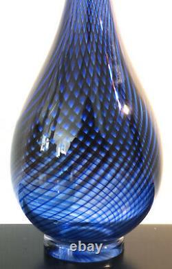 Signed VICKE LINDSTRAND KOSTA BODA SWEDEN Blue COLORA Glass Vase 1950s, H 8 1/2