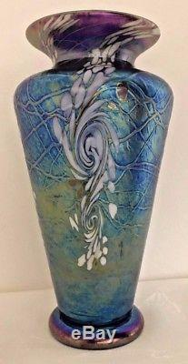Signed Vines Art Glass Blown Glass Cobalt Swirl 8 inch Traditional Vase TVM309