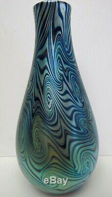 Signed swirled pulled feather blue Orient & Flume vase