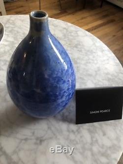 Simon Pearce Crystalline Cobalt Teardrop Vase