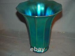 Steuben Blue Aurene Shade Vase