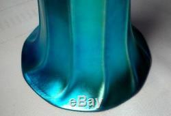 Steuben, Blue Aurene Shade Vase, Very Nice, Bob Rockwell Gallery