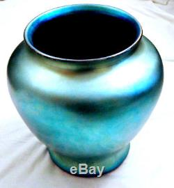 Steuben Blue Aurene Vase Shape 2412 Signed Monumental Size 12 tall 38 around