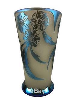 Steuben Blue Aurene on Alabaster Vase. Corintha Pattern 6777
