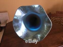 Steuben Frederick Carder Calcite Blue Aurene Trumpet Vase