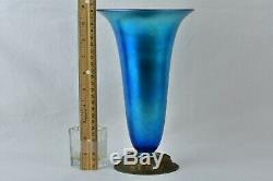 Steuben Glass 1900's Blue Aurene Iridescent Trumpet Vase with Metal Base #2909