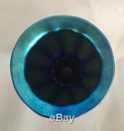Steuben Glass Blue Aurene #938 Shade Vase
