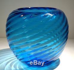 Steuben Spiral Ribbed Transparent Deep Celeste Blue Vase Circa 1930s