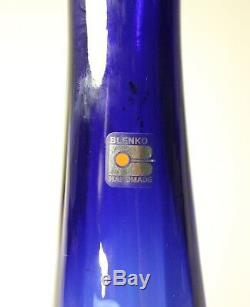 Striking Midcentury Tall Cobalt Blue Blenko Glass Vase With Sticker