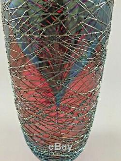 Stuart Ableman Glass Art Signed Dated iridescent Chrome Web Style Vase 111/2