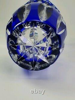 Stunning Antique Val St. Lambert Art Glass Blue Cut to Clear Vase