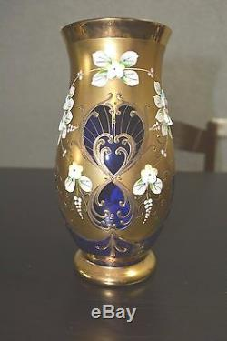 Stunning Egermann Czech Bohemian Cobalt Blue Gold Enamel Flowers Large Vase