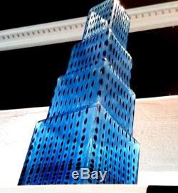 Stunning Kosta Boda Metropolis Glass Vase Skyscraper Art Sculpture In Mint Cond