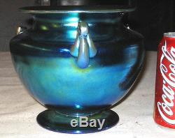 Stunning Lg Antique Steuben Blue Aurene Art Glass Vase Flower Garden Urn Favrile