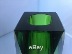 Stunning Murano 3 x Sommerso Faceted Vase In Green, Yellow and Blue in Clear