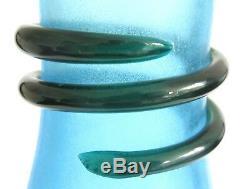Stunning Signed Alfredo Barbini Blue Scavo Murano Glass Vase Venini Vistosi Era