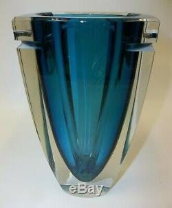 Stunning Waterford Crystal Blue Turquoise Metra Elliptical 10 Tall Vase