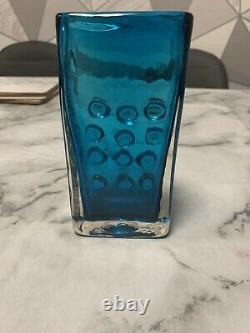 Stunning Whitefriars kingfisher blue Mobile Phone Vase by Geoffrey Baxter C. 1969