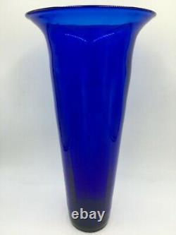 (Super Rare!) Vintage MCM Blenko Handmade 18.75 Tall Cobalt Glass Floor Vase