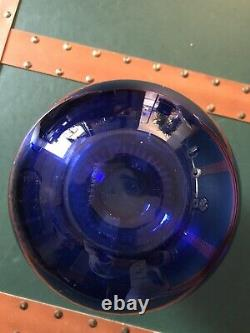 TIFFANY & CO SIGNED COBALT BLUE CRYSTAL ART VASE withETCHED RIBS