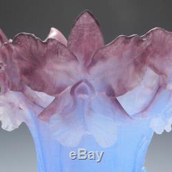 Tall Daum Pate de Verre Vase Bearded Irises