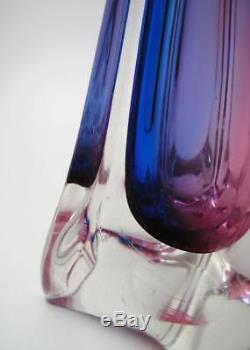 Tall Sleek Vintage Italian Murano Pink & Blue Cased Art Glass Vase MID Century